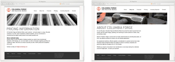 Columbia Forge subpages