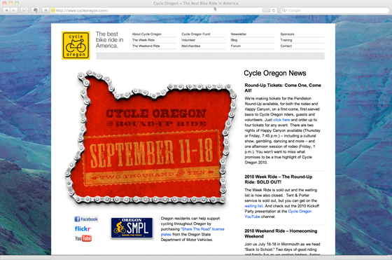 Cycle Oregon website homepage