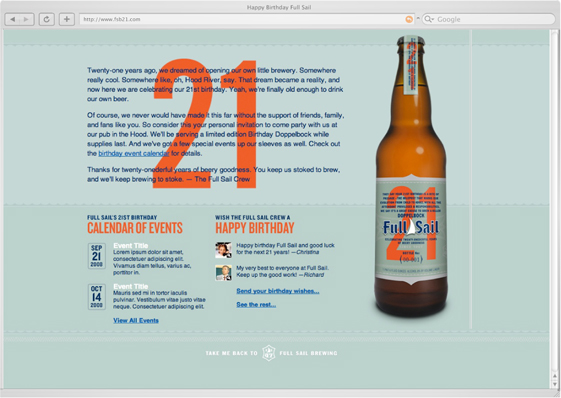 Full Sail Brewing 21st Birthday microsite home page