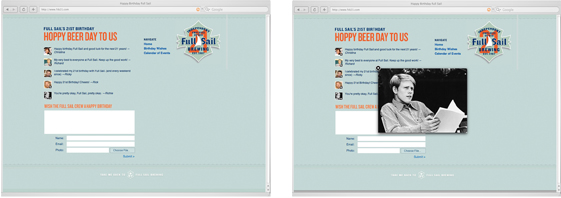 Full Sail Brewing 21st Birthday microsite subpages