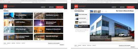 Perlo Construction website subpages