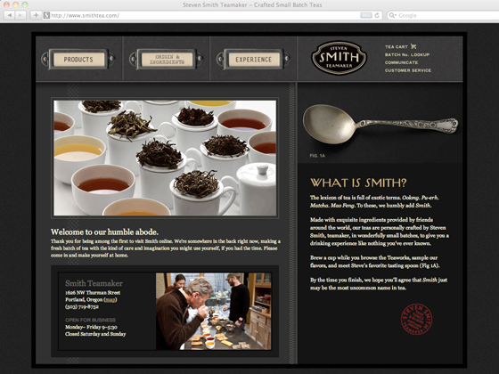 Smith Teamaker website homepage