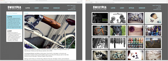 Sweetpea Bicycles website subpages