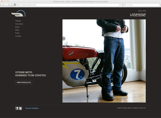 Vitesse Moto website homepage